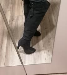 ***SNIŽENE*** Tamno sive dugačke čizme*KAO NOVE