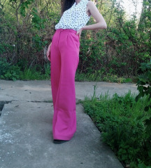 Vintage roze pantalone na crtu XS