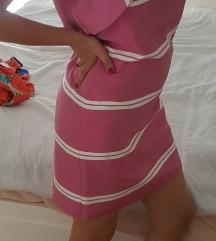 Nova Mango roze bela haljina S