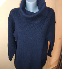 Teget  džemper sa velikom rolkom, novo