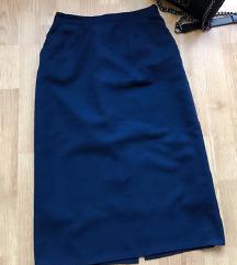 Tamno plava suknja visoki struk
