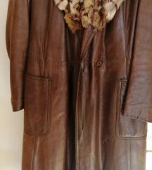 Ženski kožni kaput sa pravim krznom