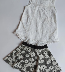 YD suknja i River island cipkana bluzica