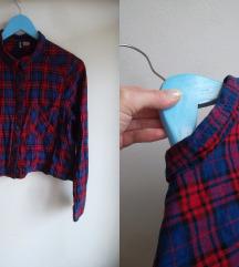 H&M crop, oversized karirana košulja M-L