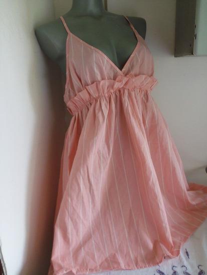 Nova roze prugasta haljina L