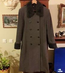 ORSAY Germany sivi topli kaput krzno i vuna