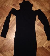 Crna haljina rolka rebrasti pamuk