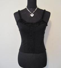 Sexy Crna Majica na Bretele sa Cipkama
