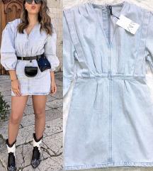 Zara jeans haljina sa balon rukavima NOVA sa et