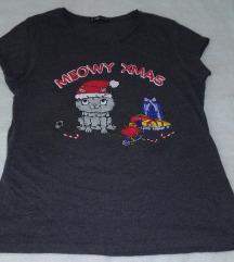 Siva majica sa novogodisnjim printom