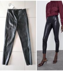 ZARA kožne pantalone visoki struk