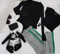 Pantalone, bodi, croptop, štikle, novčanik, nakit