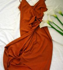 HM wrap haljina u boji cigle, vel. S