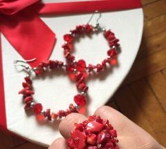 Minđuše i prsten crveni koral