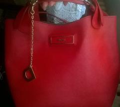 DKNY crvena saffiano torba