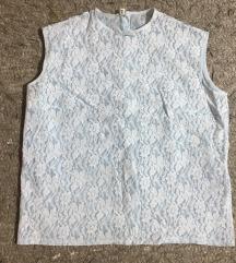 Zenska svetloplava cipkana majica