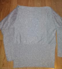 Siva bluza sa štrasom