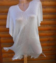 Beli svileni ponco ogrtac NOVO