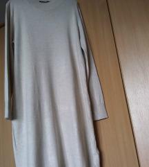 ESMARA krem dzemper haljina sa polurol kragnom
