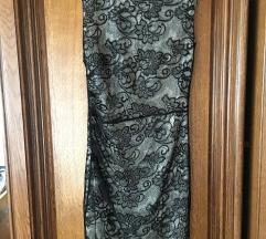 Bela mango haljina sa crnom čipkom