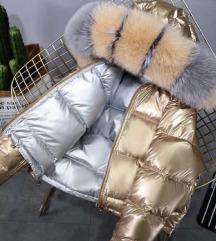 Zimska jakna sa dva lica i prirodnim krznom