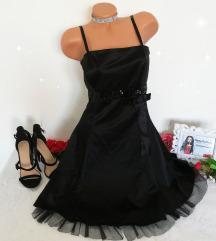 crna satenska haljina