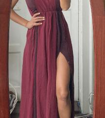 Svecana bordo haljina sa tilom