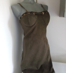Nova maslinasta kao kozna haljina S