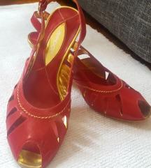 Crvene kozne italijanske sandale lagane