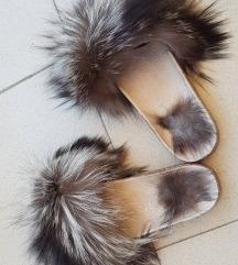 Kožne papuče prirodno krzno, novo
