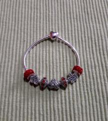 NOVA narukvica Pandora LOVE crvena za ljubav