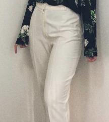 Bele pantalone high waist