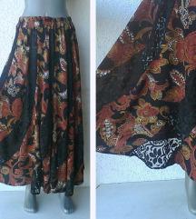 braon crna duga suknja sa čipkom S ili M