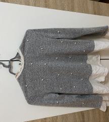 Siva košulja-majica sa biserima
