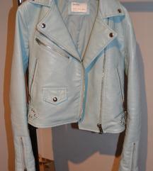 Bershka tirkizno plava kozna jakna