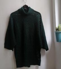 Tamnozeleni rupičasti džemper