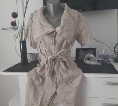 Krem košulja haljina