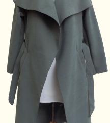Maslinasto zeleni tanji kaput na vezivanje
