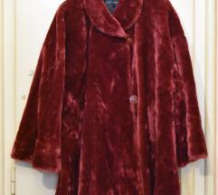 Bordo bunda od veštačkog krzna, za punije