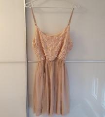 ZARA nude prelepa haljina, cipka-til M ,moze i S