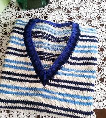 Prsluk plavo bela kombinacija - rucni rad