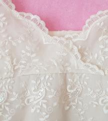 Krem biserna sljokice cipka haljina