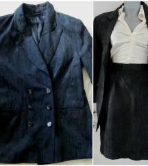 Vintage sjajni komplet duboka suknja+sako 36