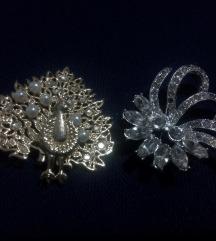 Vintage broševi - paun i leptirocvet