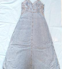 Dugačka teksas haljina na bretele