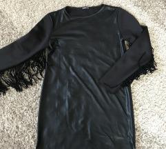 Crna haljina sa resama NOVA