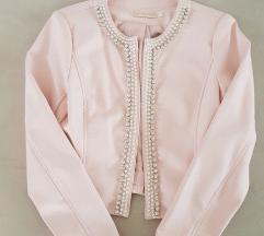 Roze kožna jakna