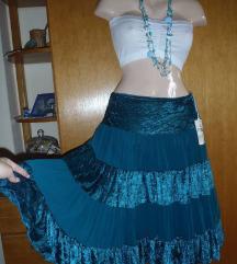 Raskosna suknja petrolej boje