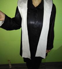Kozni crno beli mantil sa kapuljacom xl