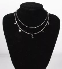 Dvostruka ogrlica sa mesečićima i zvezdicama